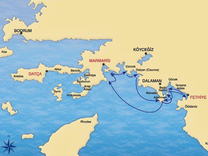 SAMPLE ROUTE FETHIYE MARMARIS mini cruise STANDART GULET